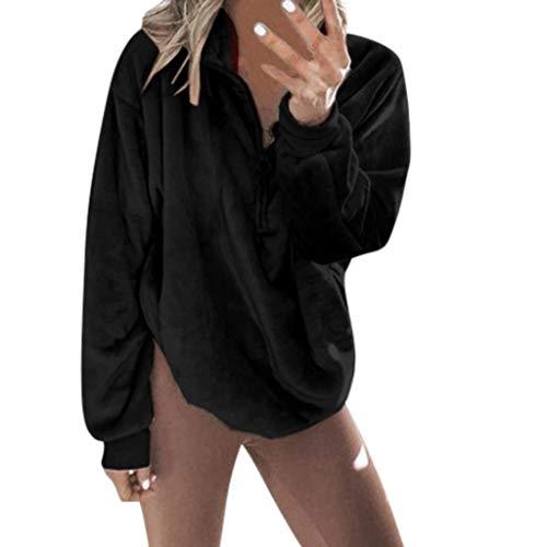 ITISME Sweat Polaire Femmes Automne Hiver Chaud Haut Fermeture éclair Sweat-Shirt Zipper Poches Grande Taille Dames Arrêtez-Vous Sauteur Outwear Jumper Hauts Sweatshirt Pas Cher Top Blouse Mode Chic