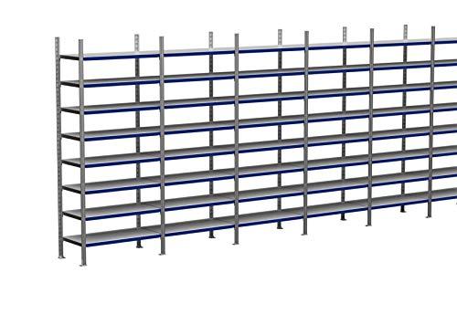 6m plankenrek 200/250/300 cm hoog, 50 cm diep met 3-8 niveaus inclusief stalen planken, belastbaar tot 200 kg 6m × 250cm × 50cm (B×H×T), Ebenen: 8