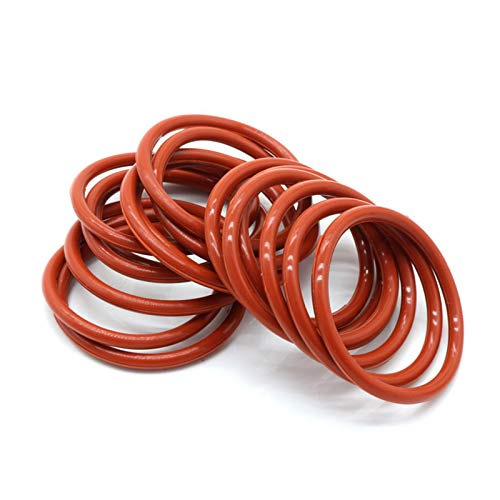 10pcs O Ring Seal Gasket Thickness 2.4mm Insulated Waterproof Washer, Od 14mm, Red,2.4Mm