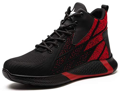 SUADEX オシャレ安全靴ハイカット赤 あんぜん靴ブーツ ミドルカット作業靴 ショートブーツ 安全 作業はいカット 安全半長靴 鋼先芯 耐摩耗 ケブラー防刺 耐滑