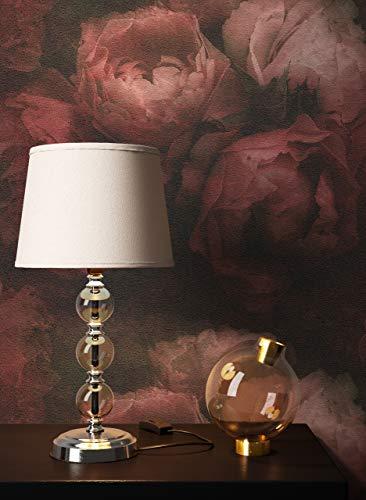 NEWROOM Tapete Rot Vliestapete Blumen - Vintage Floral Rosa Schwarz Rosen Blätter Blumentapete 3D Optik Rosentapete inkl. Tapezier-Ratgeber