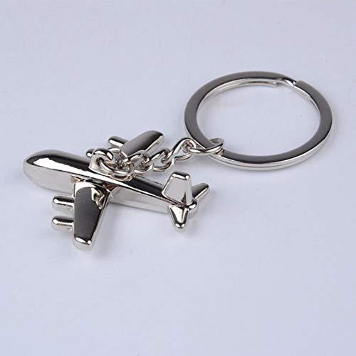 Mode Metalen legering vliegtuig sleutelhanger dames heren Sleutelhanger Sieraden voor mannen Verjaardag Kerst sleutelhanger Cadeau, Zilver