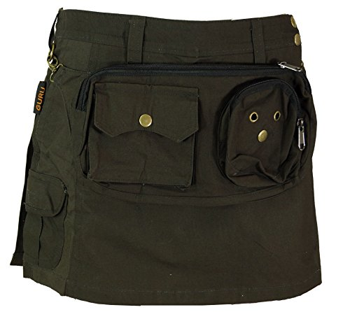 GURU SHOP Goa Shorts, Kurzer Hosenrock, Side Bag-Gürteltaschen Rock, Damen, Dunkles Olivegrün/orange, Baumwolle, Size:S (36), Shorts, Leggings Alternative Bekleidung