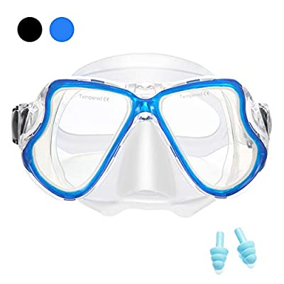 Supertrip Snorkeling Diving Mask Adult, Anti-Fog Film Tempered Glasses Panoramic 180°Wide View Diving Goggles(Blue)