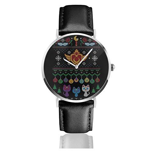 Reloj unisex de negocios, informal, con patrón de luna de marinero y luna de Navidad, con correa de cuero negro, para hombres y mujeres, colección joven, regalo