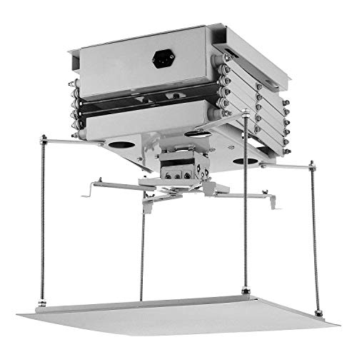 Bisujerro 1M Soporte de Proyector para Techo 220V Soporte Eléctrico para Proyector con Control Remoto Proyector Lift para Escuela, Sala de Reunion, Cine
