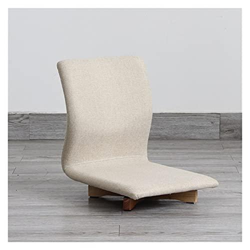 CYSHAKE Tatami Volver Silla giratoria Mirador Silla de Estilo japonés sillón Cama de algodón extraíble Suave Lino cómodo y Transpirable Sillas de Videojuegos (Color : White)