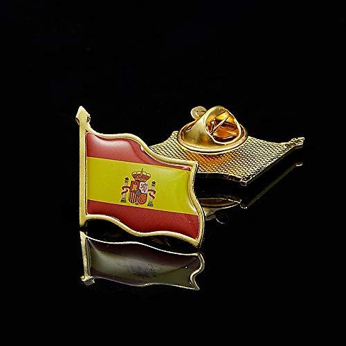 ZAVIER Banderas 10PCS España Amistad Chapados En Oro Esmalte De La Solapa La Insignia del Pin Regalos De Recuerdo (Size : 10PCS)