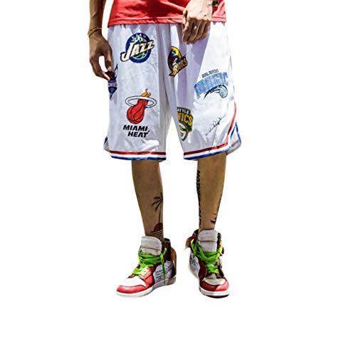 Irypulse Herren Basketballshorts aus Atmungsaktives Mesh Stoff, Sommer Straßenmode Shorts für Jugendliche und Jungen, Lose Sport Joggen Shorts Drucken Kurze Hose - Original Design,XL,Weiß