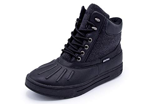 Nautica Mens New Bedford Waterproof Snow, Insulated Duck Boot-Black Canvas-10