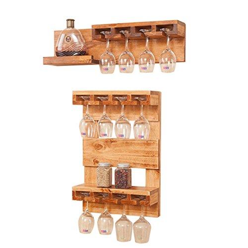 Wine Shelf Wall Mount Solid Pine Wood Wine Glass Rack | Shelf Holder Wine Holder Hanging Wine Goblet Shelf | Rack Storage Unit Floating Shelves for Restaurants, Daily Home, Kitchen (Size : Set of 2)