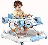 Knoijijuo Andadores Walker 2 En 1 La Forma del Coche, Plegable, Ajuste 4 Altura, Carga Andador Andador: 20 Kg, 20 Kg Puede Ser Adecuada,Azul