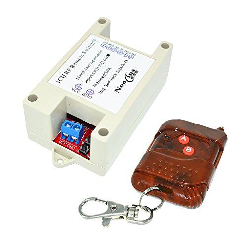 gazechimp Interruptor de Relé 433M Módulo 24V Interruptor de Radio de 2 Canales Tipo de Aprendizaje Remoto Marrón
