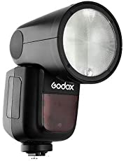 Godox V1-C TTL Cámara Flash Speedlite con batería Panasonic 18650 Lithium Battery Support for 480 Full Power Pops Compatible with Canon DSLRs (Black)