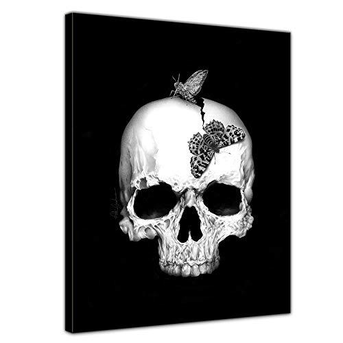 Bilderdepot24 Bild auf Leinwand   Skull   in 90x120 cm als Wandbild XXL   Wand-deko Dekoration Wohnung modern Bilder schwarz weiß   211509