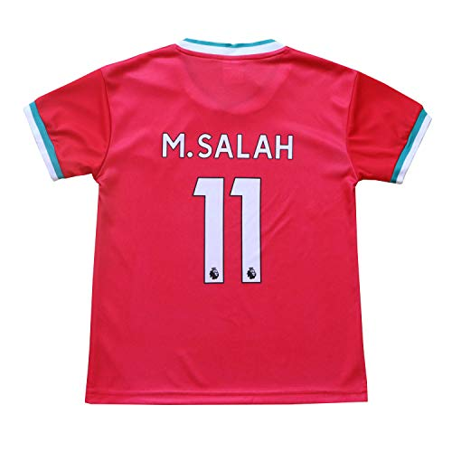 Necm 2020/2021 Liverpool Red Home #11 Mo Salah Soccer Kids Jersey Shorts Socks Set Youth Sizes (Red, 7-8 Years)