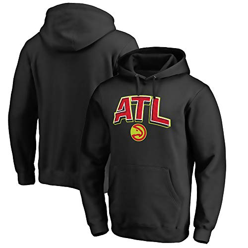 BMSD Hoodies Jersey NBA Atlanta Hawks Negro Deporte Hombres Baloncesto Uniforme de Manga Larga, L