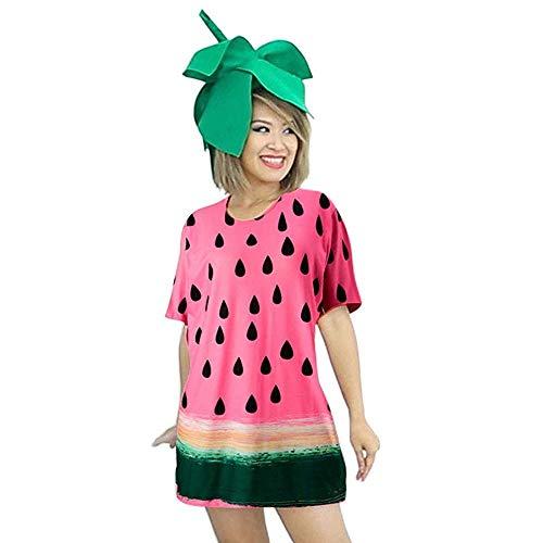 MRULIC Damen T-Shirt Kleider Festival Faschingsfest Party Obst Lässige Kurzarm Fruchtdruck Blusenkleider (Rosa,Freie Größe)