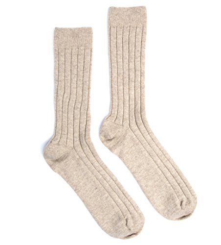 Cashmere Sock House - ScotlandHerren Socken, Einfarbig Beige Wheat Grass