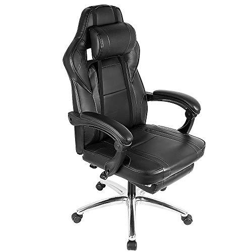 YJIIJY Gaming Stuhl Bürostuhl Ergonomisches Heimbüro Computer Racing Chair Drehbarer Ledersessel mit Liege und Fußstütze (Schwarz)