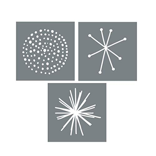Large Starburst Wall Art Stencils – Set of 3 Reusable Stencils for Walls or Furniture – Easy DIY Wall Décor - Scandinavian Stencil Designs