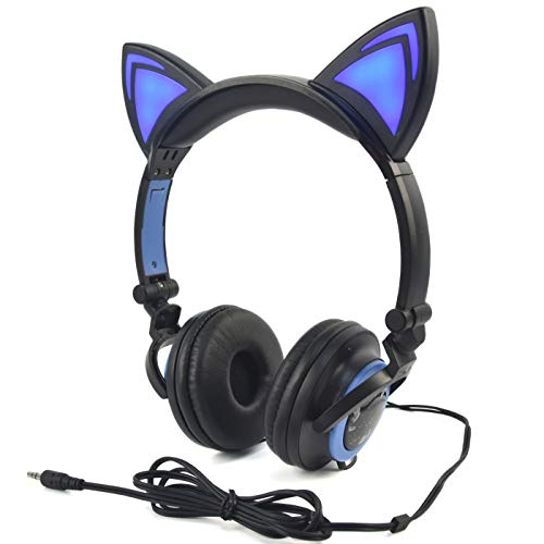 LIMSON Katzen-Ohr-Kopfhörer Scherzt Headphones, Faltbares über Ohr-Spiel-Headsets mit LED-Licht Ausstrahlendem Verdrahtetem Cosplay Kopfhörer (Schwarz&Blau)