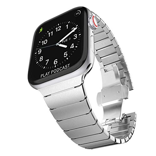 TECHGEAR Watch Band Compatible with Apple Watch 44mm / 42mm Steel Link Bracelet Watch Strap Wrist Band with Butterfly Metal Clasp for new Series 6, SE, Series 5 4 3 2 1 - Silver