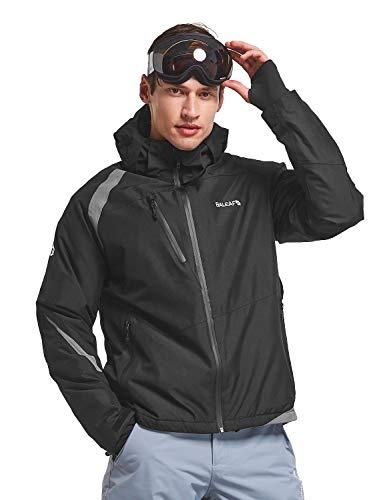 BALEAF Herren Warme Skijacke Wasserdicht Winddicht Winter Outdoorjacke Funktionsjacke mit Taschen und Kapuze Schwarz/Grau M