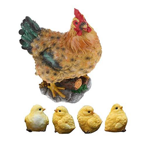 LOVIVER Huhn Tiere Küken Figuren Deko Gartenfigur Gartendeko für Haus Garten Hof Dekoration