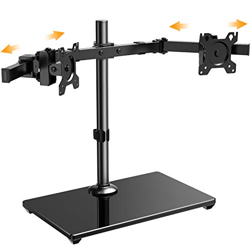 """ErGear Dual Monitor Stand with Freestanding Glass Base, 17-32"""" Height Adjustable Two Arm Monitor Mount, Heavy-Duty Structure Loads up to 26.4lbs, EGCM6"""