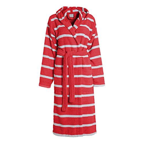 Seahorse zeepaardje badjas, rood gestreept/katoen/extra zacht en absorberend/Maat: M