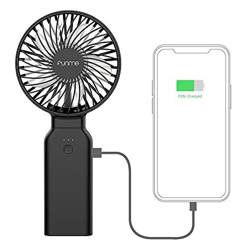 Handventilator mit Powerbank, FUNME 9000mAh AkkuTragbarer Ventilator 53 Stunden 4 Stufen USB Ventilatoren Faltbarer Tischventilator Kompatibel mit Multi Port Steckdose für Camping Reisen Büro