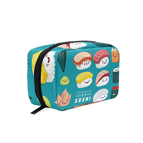Bolsa de maquillaje de Japón Sushi azul pequeño, bolsa de maquillaje, bolsa de maquillaje, mini cosmética para mujeres y niñas, neceser organizador con compartimentos accesorios de viaje