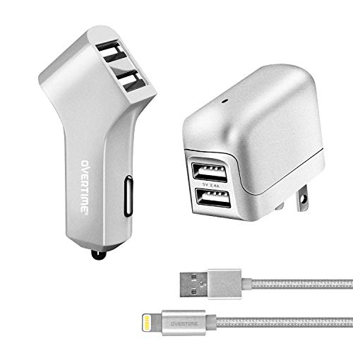iPhone Charger, Overtime Apple MFi Certified 6ft Braided Lightning USB Cable with Dual Port Wall & Car Charger Adapter for iPhone 11 Pro Max X Xs XR 8 7 6s 5 SE, iPad Pro Air Mini – Silver
