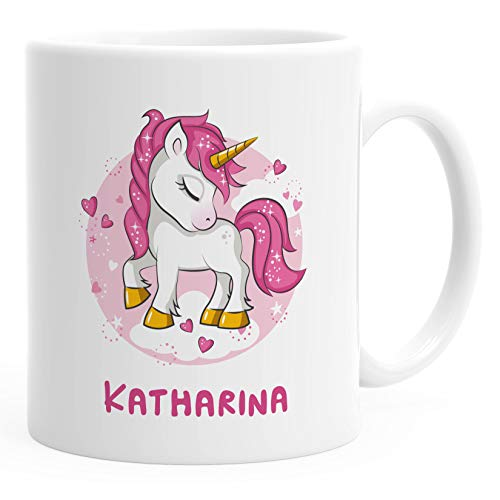 SpecialMe® Namenstasse personalisierte Kaffee-Tasse mit Namen mit Namen und Einhorn Motiv persönliche Geschenke weiß Keramik-Tasse