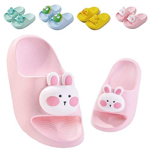 Badelatschen Kinder Dusch Badeschuhe Jungen Mädchen Leicht Anti-rutsch Flache Sommer Hausschuhe Sandalen für Kleinkinder Rosa 23/24 (Etikettengröße 160mm)
