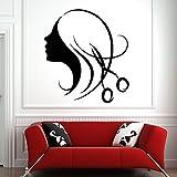 Pegatinas de pared para salón de belleza, tijeras para peluquería, calcomanía de pared, Mural, estudio, patrón de arte de cara de chica simple