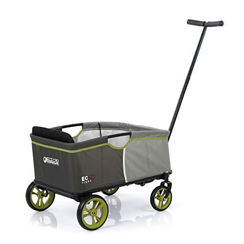 Hauck Toys for Kids Bollerwagen Eco Mobil Light - Faltbarer Handwagen mit Sitz, Klappbollerwagen für 1 Kind, klappbar & bis 50 kg belastbar - Grau Grün