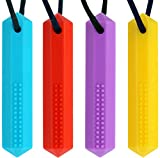 Panny & Mody Sensory Chew Necklace for Boys and Girls(4 Pack), BPA Free Silicone Crystal P...