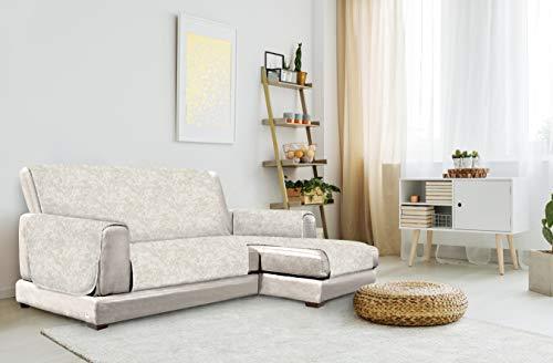 "Italian Bed Linen ""Glamour"" Anti-Deslizamiento Funda para sofà con Chaise-Longue Derecha, Beige, 290cm"
