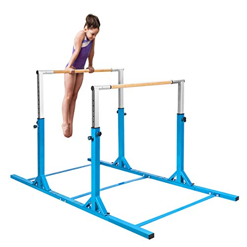 """Costzon Double Horizontal Bars, Junior Gymnastic Training Parallel Bars w/11-Level 38-55"""" Adjustable Heights, 264lbs Capacity, Ideal for Indoors, Outdoor, Home Practice (Blue)"""