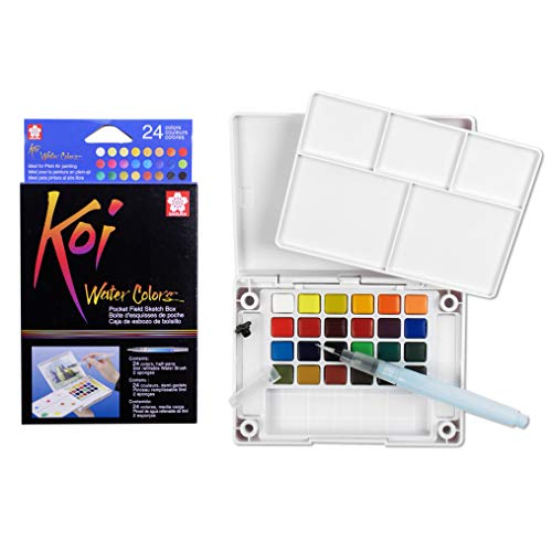 24 Colors Koi Water Colors Pocket Field Sketch Box XNCW24N