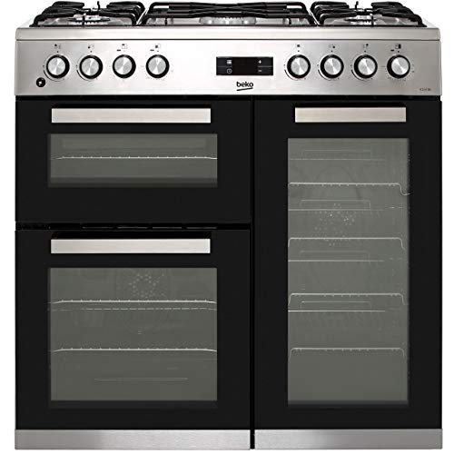 Beko KDVF90X 90cm Dual Fuel Double Oven Range Cooker - Stainless Steel