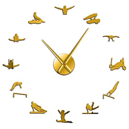 Reloj de Pared para Hombre, Gimnasia artística, Manos largas, Reloj de Pared 3D DIY, Regalo para Deportista, Autoadhesivo, Dorado, 37 Pulgadas