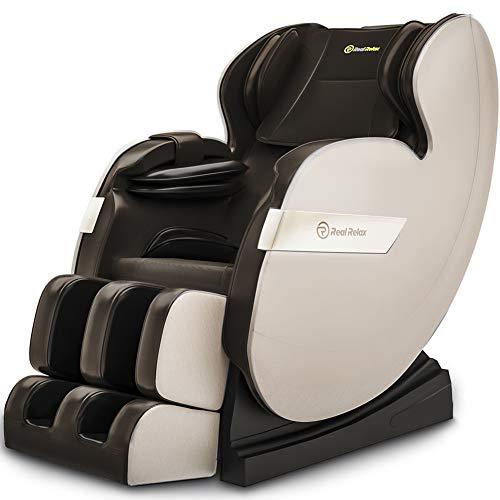 Real Relax Massagesessel, Zero Gravity für Ganzkörper mit Heizung und Fußrollen Bluetooth und...