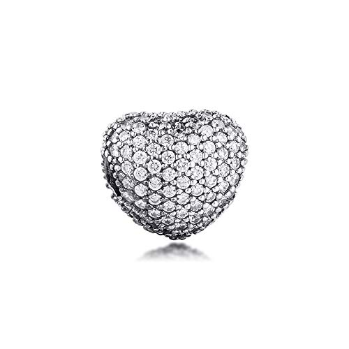 Diy Pave Open My Heart Clip Charm 925 Sterling Silver Clear Beads For Jewelry Making Fit Charms Bracelet