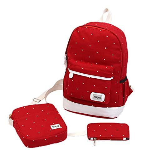 SANFASHION Backpack-Set 3-TLG Schulrucksack Schulranzen Schultasche Sports Rucksack Freizeitrucksack Daypacks Damen Schulter Rucksack Canvas Reisetasche (Rot, 40cm(H) X 28cm(W) X 16cm(T))