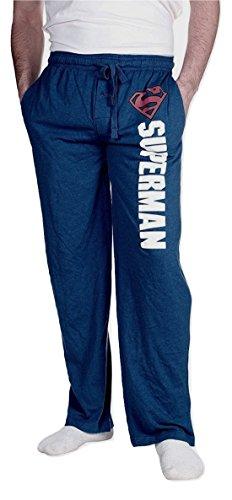 DC Comics Superman Men's Superhero Lounge Sleep Bottom Pajama Pant (Small) Heather Blue
