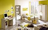 Jugendzimmer Wiki Eiche Sonoma Weiss 4 TLG Komplett Set Kinderzimmer Jugendmöbel inkl. Gitarre und Desktop