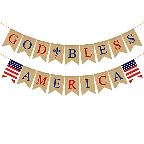 Pudodo Jute Burlap God Bless America Banner Memorial Day Independence Day 4th of July Mantel Fireplace Decoration